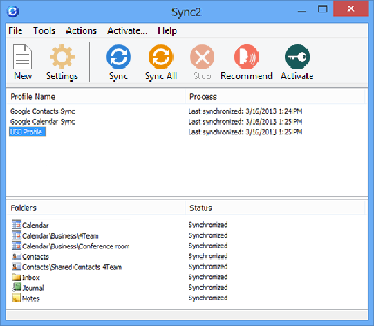 Click to view Sync2 for Outlook 2.50 screenshot