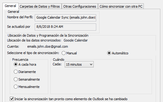 Sincronización automática de Outlook con un dispositivo de Android