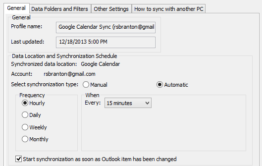 Start the sync manually or set up a schedule