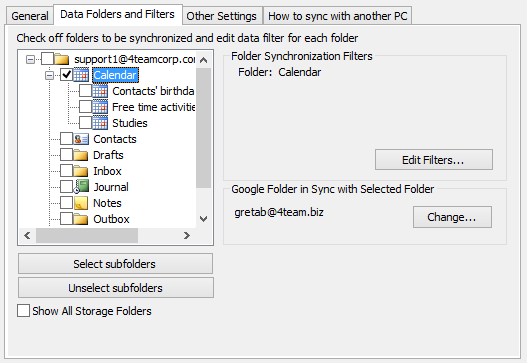 Synchronize and share Outlook Personal Folders