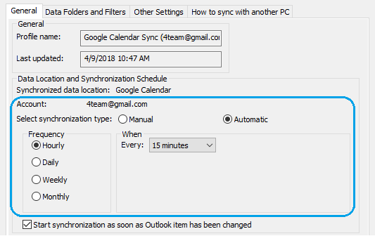 Sync Google Calendar with Outlook automatically
