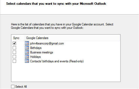 Sync multiple Google Calendars with Outlook 2016