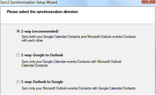 Two-way synchronization between Google and Outlook Calendars