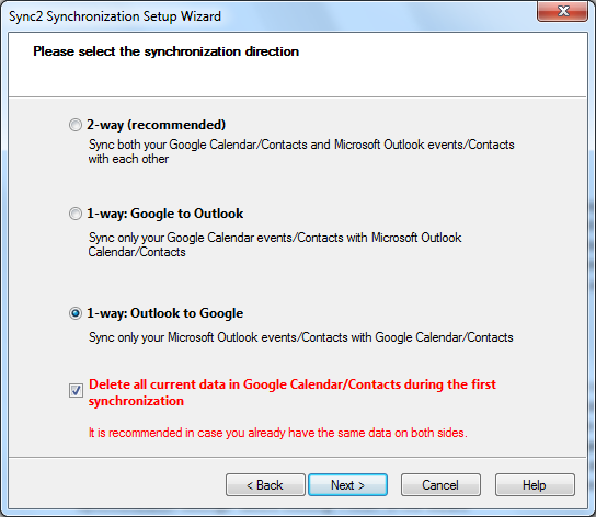 one way sync between google and outlook