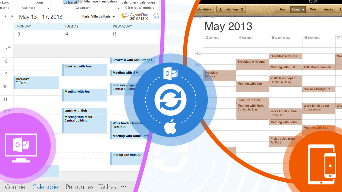 Sync Outlook Calendar with iPhone via Google services