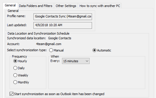 Automatic synchronization between Google and Outlook Contacts