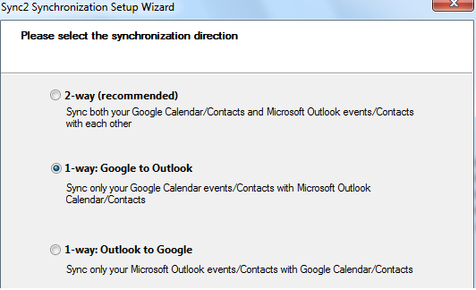 Google Calendar sync with Outlook Calendar using Sync2
