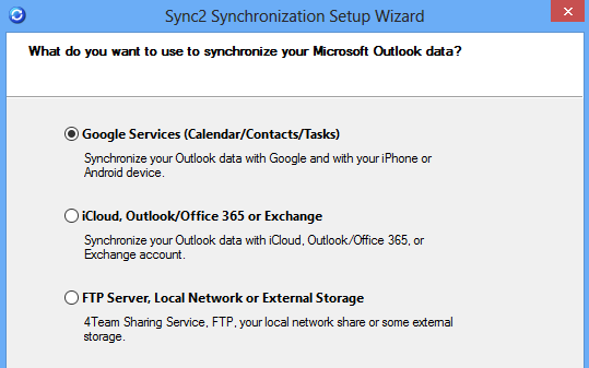Sync Outlook with Android using Google services